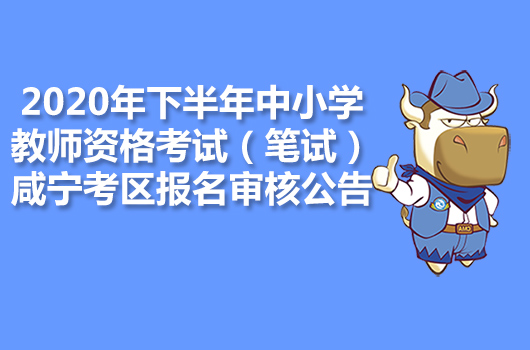 2020年下半年中小学教师资格考试笔试咸宁考区报名审核公告