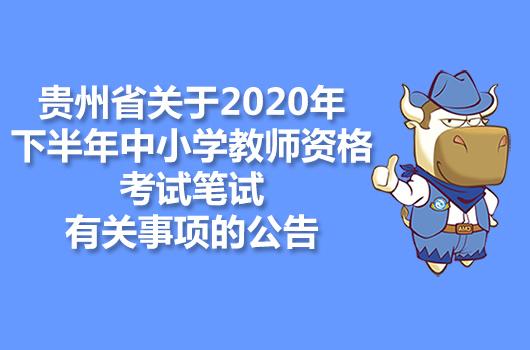 贵州省关于2020年下半年中小学教师资格考试笔试有关事项的公告