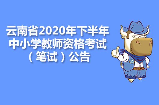 云南省2020年下半年中小学教师资格考试(笔试)公告