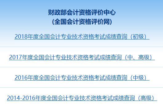 江西2018年中级会计成绩查询入口