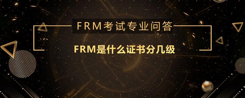 FRM是什么证书分几级