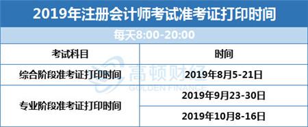 2019cpa准考证打印时间