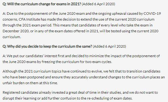 2021年CFA考纲定了!无变化!