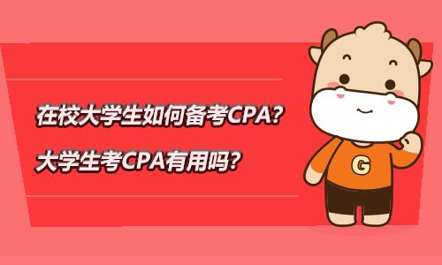 在校大学生如何备考CPA?大学生考CPA有用吗?