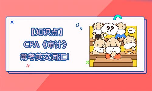 【知识点】CPA《审计》常考英文词汇!