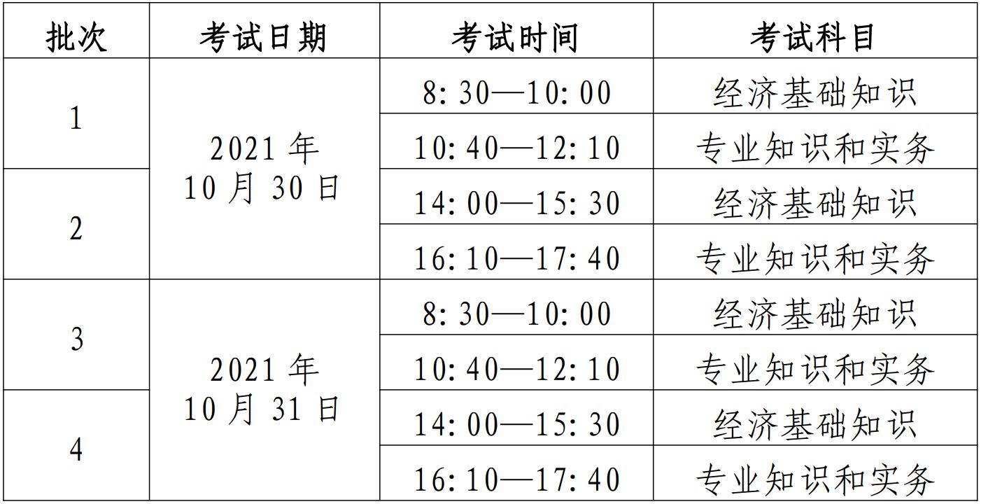 河南省中级经济师考试时间