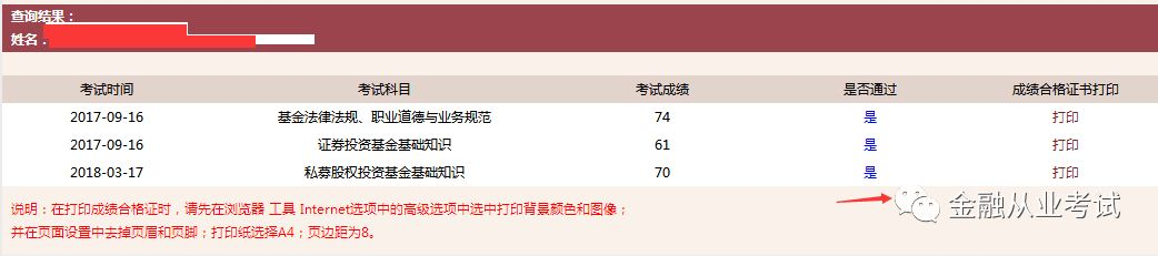 4月21日基金从业考试成绩单打印说明